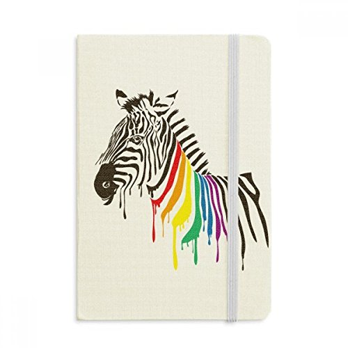 Zebra LGBT Rainbow Color Pattern Notebook Fabric Hard Cover Classic Journal Diary A5 ()