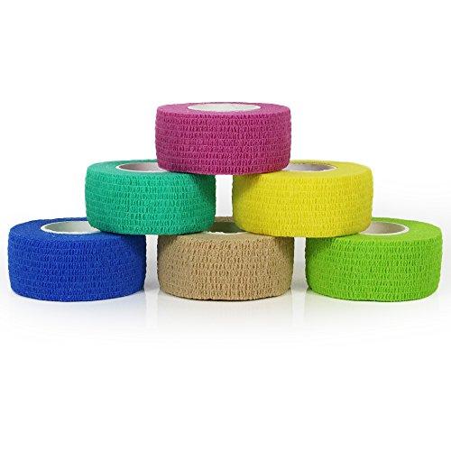 YuMai 2.5cm x 4.5m First Aid Kit Finger Tape Adhesive Bandages Vet Wrap, Elastic, Flexible, Self-Adhesive - 6 Rolls ( MultiColoured & Random ) (Tape Adhesive Elastic Vet)