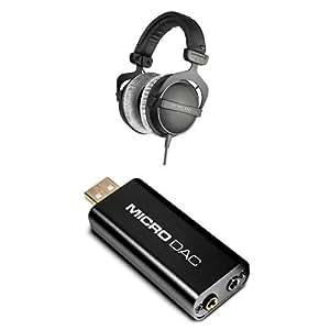Beyerdynamic DT 770 Pro 80 ohm Studio Headphones Bundle with M-Audio Micro DAC USB Digital to Analog Converter with 16bit/48kHz Resolution