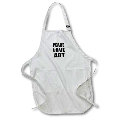 3dRose apr_184894_2 Peace Love and Art-Things That Make Me Happy-Artist Gift-Medium Length Apron with Pouch Pockets, 22 by (Peace Apron)