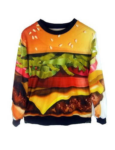 Pink Queen Womens Stylish Hamburger Print Galaxy Pullover Roll Neck Sweatshirt Sweaters Hoodies (S)]()