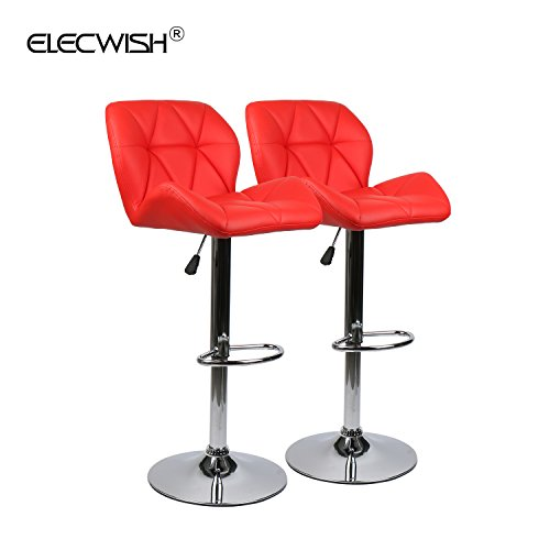 Elecwish Bar Stools Set of 2 White PU Leather Seat with Chrome Base Swivel Dining Chair Barstools (Red 2pcs) by Elecwish (Image #1)