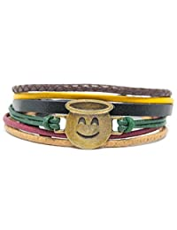 Orti Jewelry Emoji Bracelet by Original Emoji Fashion Bracelet - Handmade Leather, Metal & Rope Bangle, Stylish Design, Adjustable Unisex Jewelry, Gift Idea