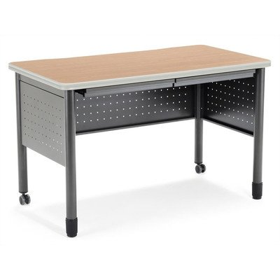 OFM Mesa Series Training Table with Drawer - Durable Mobile Utility Desk with Drawers, Oak, 25.5