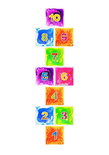 PLAYLEARN Large Hopscotch Sensory Floor Liquid Tiles 10 Pack