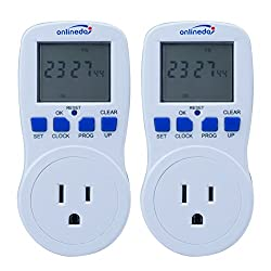 15A/1800W 7-Day Programmable Timer Switch, plug-in Wall LCD Digital Electrical Timer Switch with 3-prong Outlet, UL Listed , Set of 2