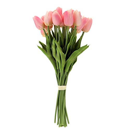 ficial Tulip Flowers Single Long Stem Bouquet Real Touch Beautiful Simulation Flowers for Home Room Party Wedding Decoration ()