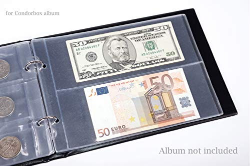 CONDORBOX Binder Paper Money Holder Plastic Protectors Sleeves 10 Pages 20 Pockets Dollar Bill Currency Collection Supplies Protector 6.4'' x 8.7''