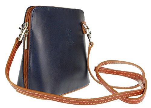 Girly Handbags - Bolso cruzados de Piel para mujer Navy Light Tan