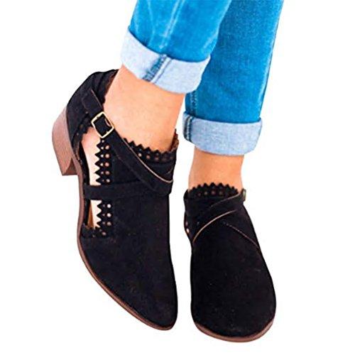 Hebilla Primavera para Otoño Grueso Encaje de Mujer Apilados Toe Tacones para Botas Tobillo Cortas de Bloque Negro Juleya Redondo Dama Invierno 6qxUnB8