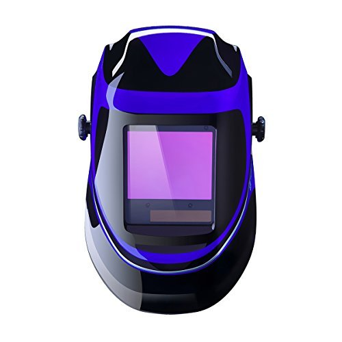 Deep Sea Solar Powered Welding Helmet Auto Darkening Professional Hood with Wide Lens Adjustable Shade Range 4/9-13 for Mig Tig Arc Weld Grinding Welder Mask
