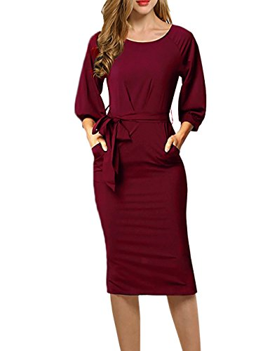 HNNATTA Dresses For Office For Women, 3 4 Sleeve Dresses Fashion Vintage Retro V Neck Belt Waist Formal Pencil Dress Wine Red X-Large