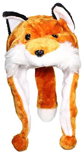 Fox Womens Hat - Best Winter Hats Adult/Teen Animal Character Ear Flap Beanie (One Size) - Fox W/Tail