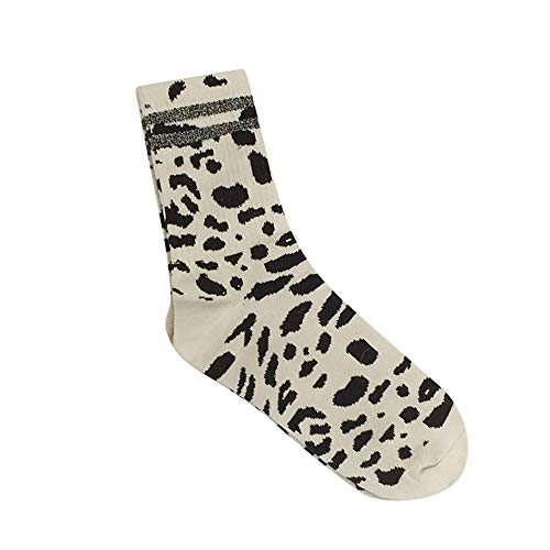 (MaxFox Women Winter Warm Leopard Print Cotton Short Ankle Socks Funny Compression Crew Athletic Mid Tube Socks (White))