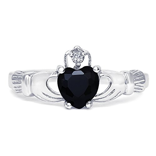 Australia Costume Dance Contemporary (Sterling Silver Simulated Black Onyx Claddagh Promise Ring For Her, 8mm)
