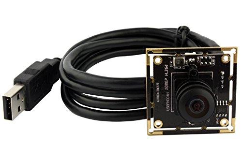 ELP 180 degree fisheye Raspberry Pi 1080P H.264 microphone PC Web usb security camera ()