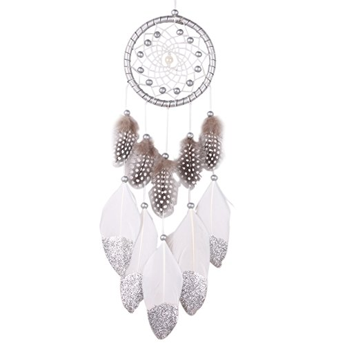Whitelotous Silver Bead White Dream Catcher with Feather Home Wall Hanging Decor (Catchers Silver)