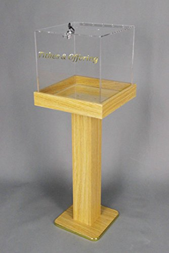 [Fixture Displays Wood Acrylic Large Floor Standing Tithing Box Offering Box Ballot Box Church Donation Box 14300] (Floor Standing Acrylic)
