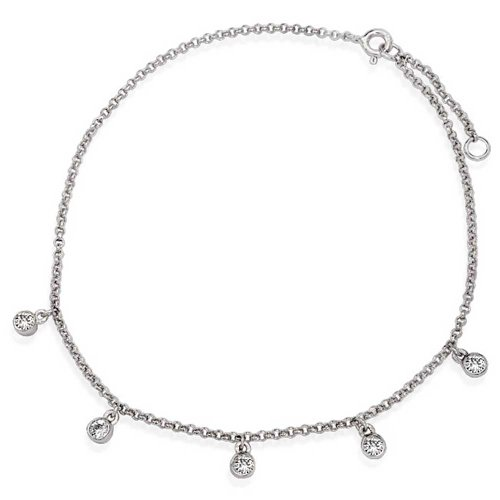 Bezel Setting CZ Dangle Charms Rolo Chain Anklet 925 Sterling Silver ()
