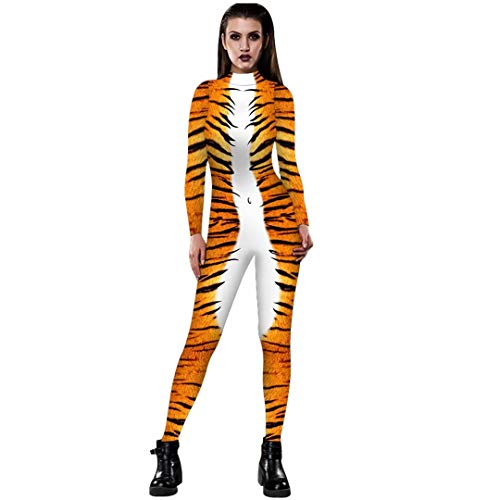Tsyllyp Halloween Jumpsuit Tiger 3D Print Bodysuit Funny Skinny Stretch Costume]()