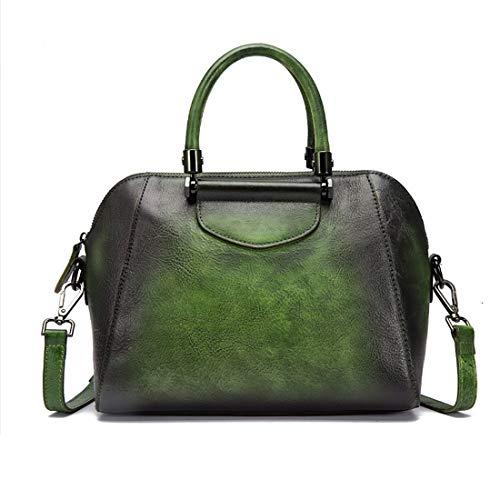 Main Satchels Femme Cuir Sac Vintage À Green color Klerokoh Bandoulière Pour Black En Véritable Yax8w6n