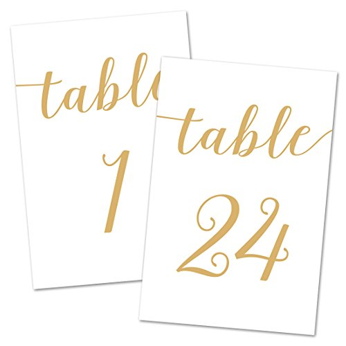 4x6 Table Number Cards 1-24 (Gold (Wedding Table Number Cards)