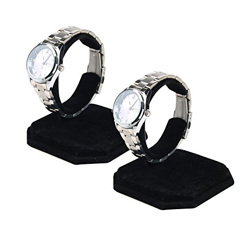 Single Watch Stand - Right Options Velvet Watch Display Stands,Jewelry Bracelet Display Holder 2 Pack(Black)