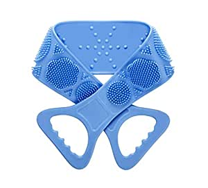 Back Scrubber for Shower Exfoliating Brush - Silicone Body Scrubber Belt Long Exfoliating Bath Body Brush Improves Blood Circulation and Skin Health (Blue)
