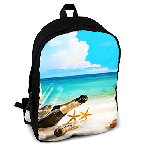 Giinly Coast Champagne Shells Bottle Stemware Full-Size Printed Custom Multipurpose School Bag Backpack Travel Daypack for ()