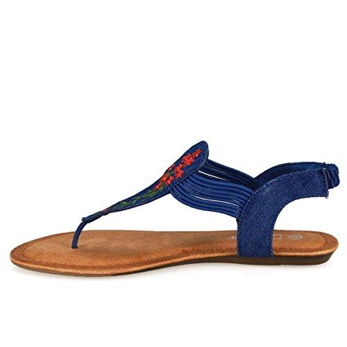 Womens Gladiator Roman Ankel T-stropp Flats Sandaler Thongs Sko Blå Denim-49