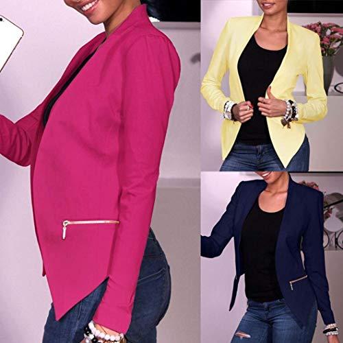 Lunghe Lunghe Autunno Vintage Primaverile Business Business Donna Gelb A1030 Coat Monocromo Ufficio Outwear Giacche Blazer Sottile Stile Parigine Stile Maniche Eleganza Moda Moda q4nfwqxIE