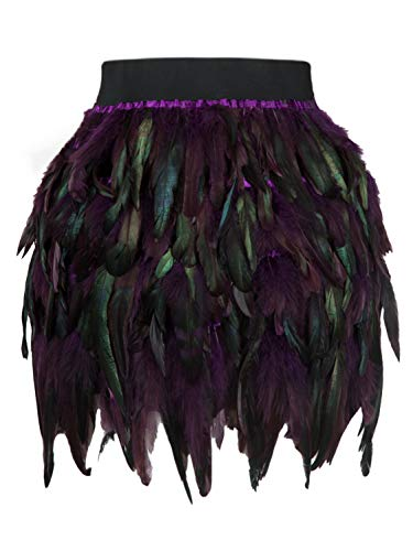 Women's Mid Waist A-Line Short Feather Skirt for Party Supply (Small, Purple) -