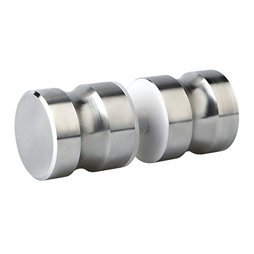 (Alise L6000 Bathroom Round Back-to-Back Shower Glass Door Handle Pull Knob 1-1/5 Inch by 1-1/5 Inch,Solid SUS304 Stainless Steel Brushed Nickel)