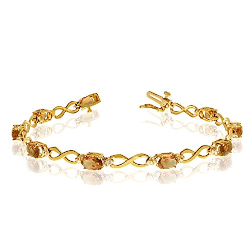 Jewels By Lux 14K Yellow Gold Oval Citrine and Diamond Bracelet