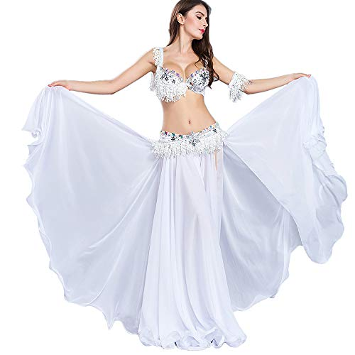 - ROYAL SMEELA Belly Dance Costume Women Sexy Belly Dance Bra Belt Professional Performance Chiffon Dancing Skirts 4pcs