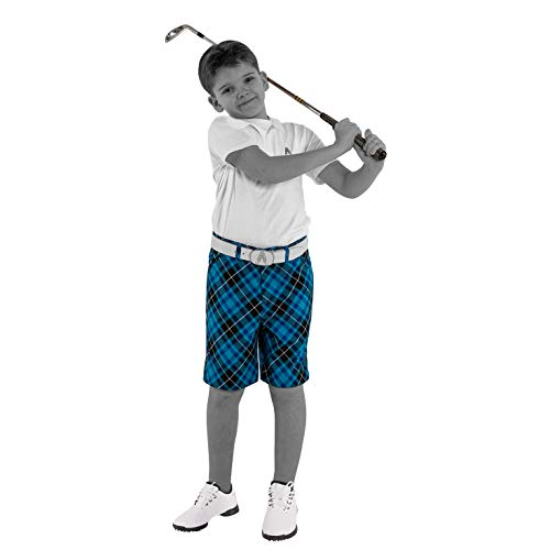 Royal & Awesome Kids Blue Plaid Bright Golf Shorts - X-Small Age 6-7 Years