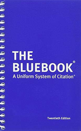 Pdf Law The Bluebook: A Uniform System of Citation, 20th Edition