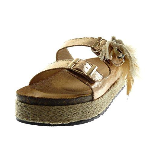 Angkorly Women's Fashion Shoes Sandals Mules - Slip-on - Platform - Folk - Shiny - Feather - Cord Wedge Platform 4 cm Champagne
