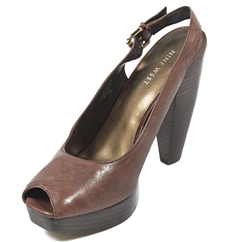 NINE WEST - Damenschlinge Zurück Sandalen NWUNIDA DARK BROWN Hacke: 12.5 cm