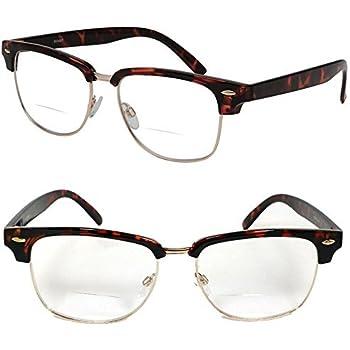 540ed1b9b7 Clubmaster Horned Rim Men Women Bifocal Reading Glasses Clear Lens (+2.00