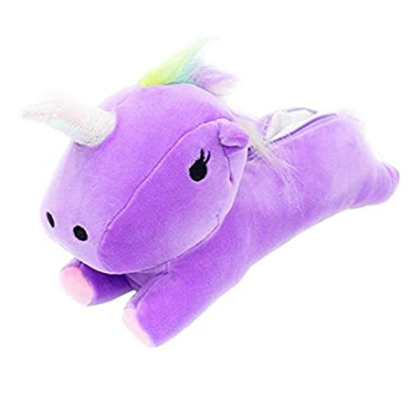 Amazon.com: Bonito estuche 3D de unicornio de felpa suave ...