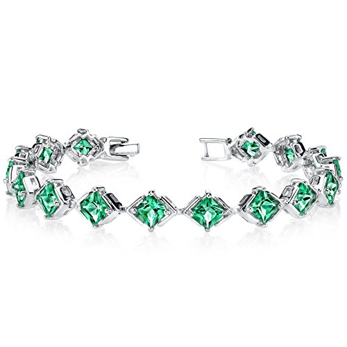 (Simulated Emerald Bracelet Sterling Silver Princess Cut 7.50 Carats)