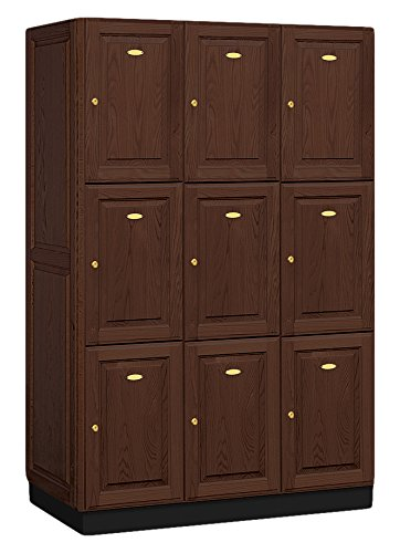 Salsbury Industries 3-Tier Solid Oak Executive Wood Locker with Three Wide Storage Units, 6-Feet High by 21-Inch Deep, Dark Oak by Salsbury Industries