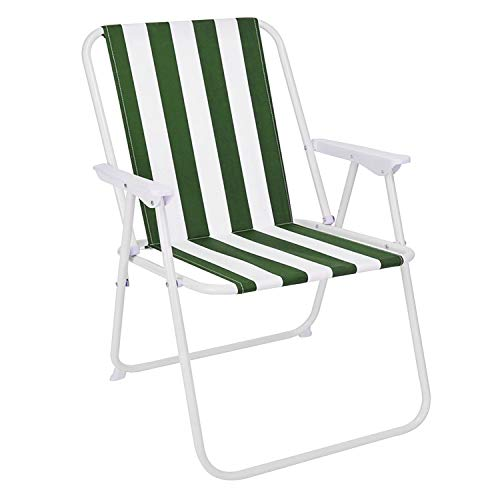 Mojawo campingstoel vouwstoel groen/wit gestreept klapstoel visstoel