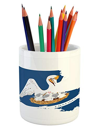 Lunarable Louisiana Pencil Pen Holder, Pelican State Flag Map Union Justice Confidence, Printed Ceramic Pencil Pen Holder for Desk Office Accessory, Cobalt Blue White Pale Coffee Earth Yellow