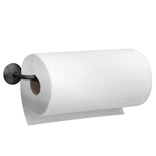 mDesign Paper Towel Holder for Kitchen - Wall Mount/Under Cabinet, Matte Black