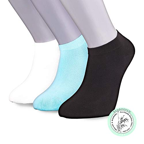 Bambooven Women's 3 Pairs Premium Ultra Soft Bamboo Ankle Casual Socks (Mixed Color 7)
