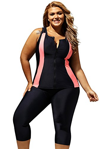 ENLACHIC Women's Top Cropped Pants Two Piece Unitard Athletic Tankini Swimsuit,XXL Black Pink