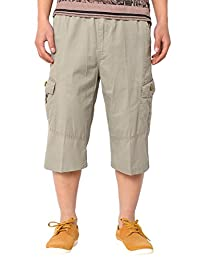 Panegy Men Cotton Overall Long Shorts Cargo Pant with Pocket Military-Style Plus Size