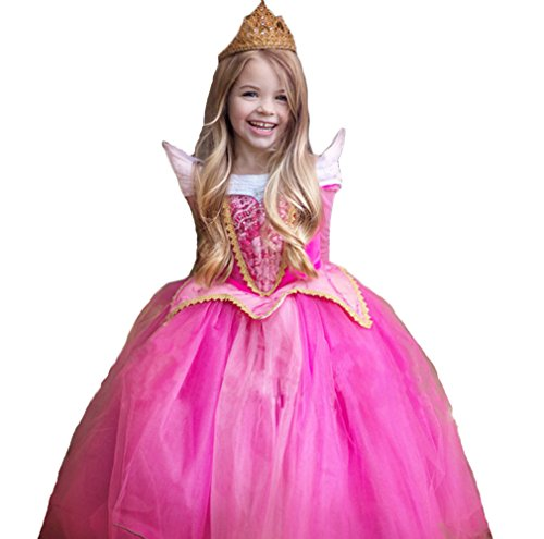 [BlueSpace Girls' Pink Princess Dress Halloween Birthday Party Costumes Dress up, M] (Plus Size Sexy Zorro Costumes)